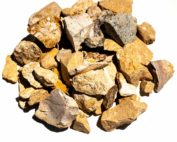 3/4 Sonoma Gold is a crushed white and peach colored decorative rock.